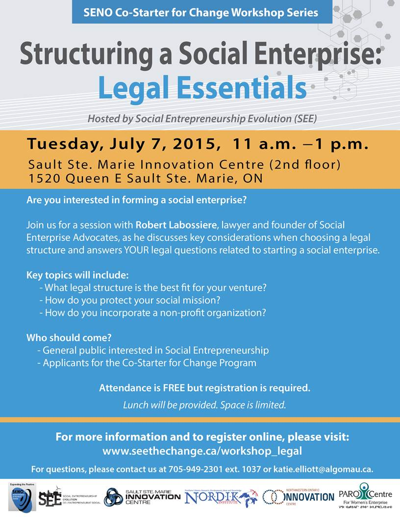 poster for Sault Ste. Marie talk on social enterprise and law.